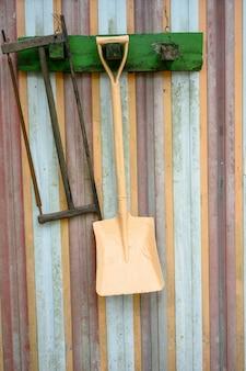 Antigas, fazenda, ferramentas, pendurar, a, antigas, denominado, parede