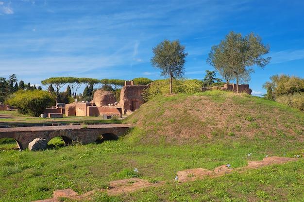 Antigas, ruínas, ligado, monte palatino, roma
