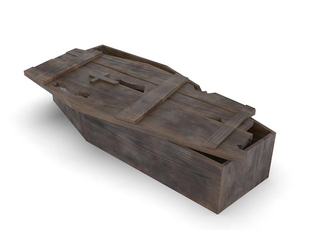 Antigo caixão de madeira em fundo branco
