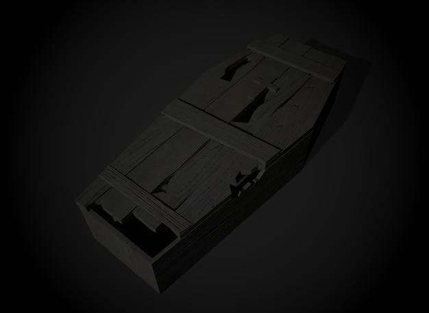 Antigo caixão de terror no fundo 3drendering