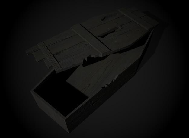 Antigo caixão de terror no fundo, renderização em 3d
