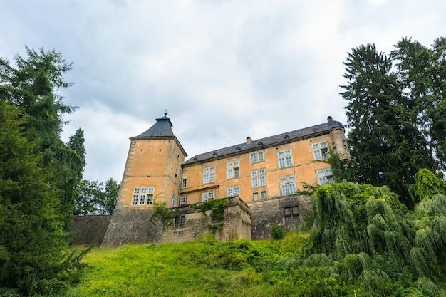 Antigo castelo com torre na encosta de uma colina gramada, antigo edifício de pedra, europa. arquitetura tradicional europeia, lugares famosos para turismo e viagens