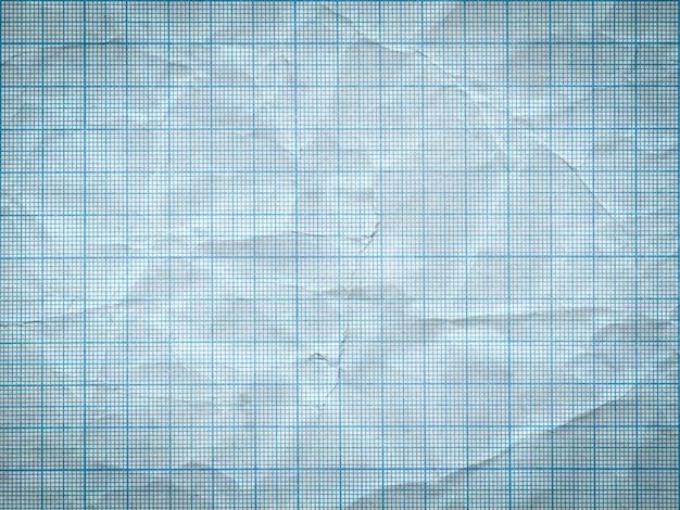Antigo fundo de folha de papel em escala de grade enrugado