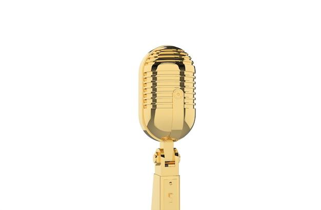 Antigo microfone dourado vintage em fundo branco