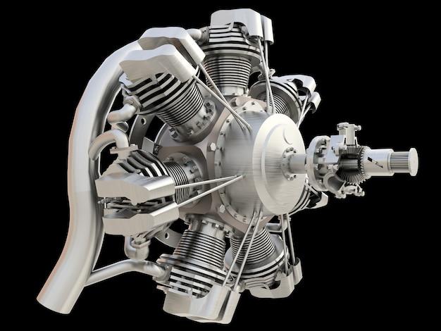 Antigo motor de combustão interna de aeronave circular