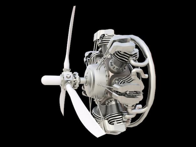 Antigo motor de combustão interna de aeronaves circulares com hélice e pás. renderização 3d.