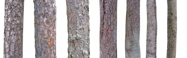 Antigo poste de madeira isolado no fundo branco