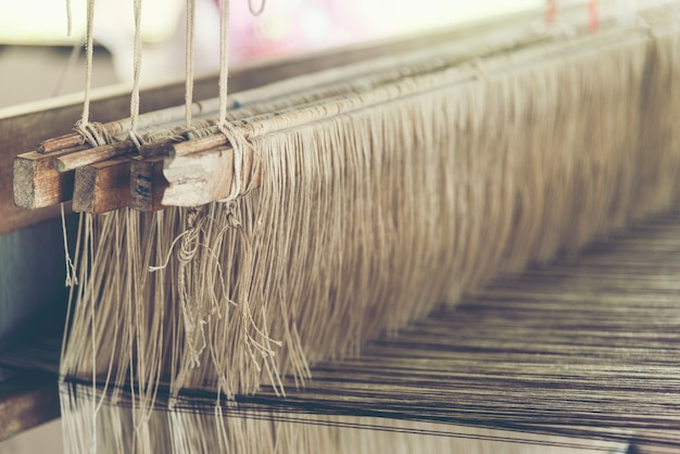 Antigo tear de tecelagem - closeup - foto, imagem de filtro vintage