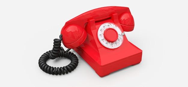 Antigo telefone com discagem vermelha sobre um fundo branco. ilustração 3d.