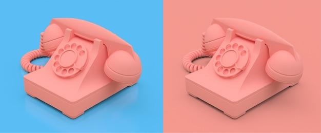 Antigo telefone rosa sobre um fundo rosa e azul. ilustração 3d.