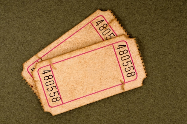 Antigos bilhetes em branco