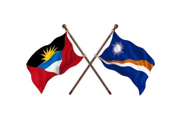 Antígua e barbuda versus ilhas marshall, duas bandeiras de países - plano de fundo