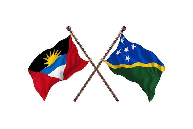 Antígua e barbuda versus ilhas salomão - fundo de bandeiras de dois países