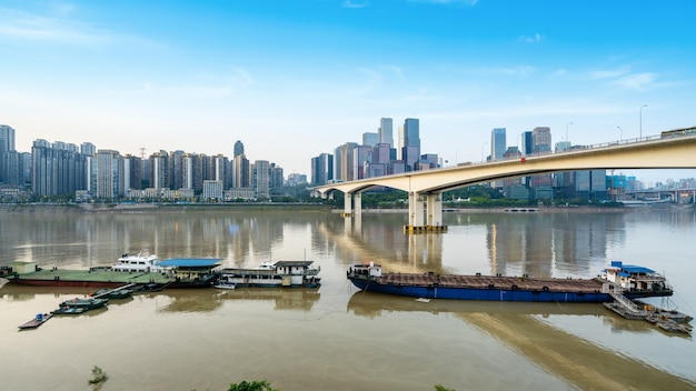 Ao anoitecer, belo horizonte da cidade, chongqing, china