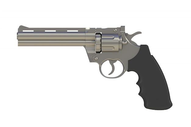 Ao lado de cromo revólver 357 magnum isolado no fundo branco, renderização em 3d