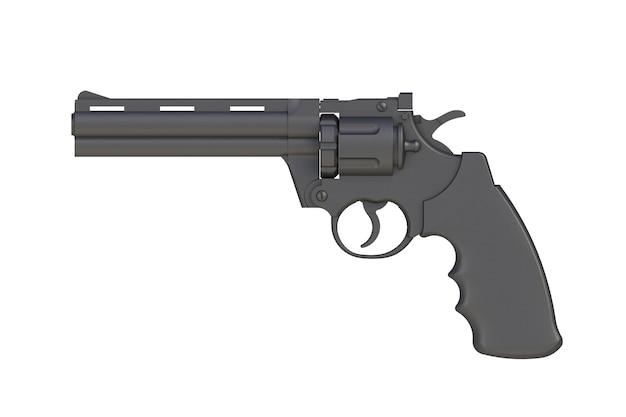 Ao lado de revólver preto 357 magnum isolado no fundo branco, renderização em 3d