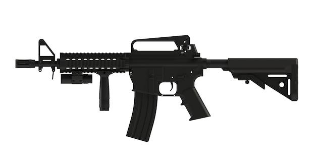 Ao lado do rifle preto assult ar15 modelo mk18 mod1 isolado no fundo branco