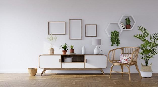 Aparador branco e poltrona de rattan no fundo da parede cinza com fotos e prateleiras, renderização em 3d