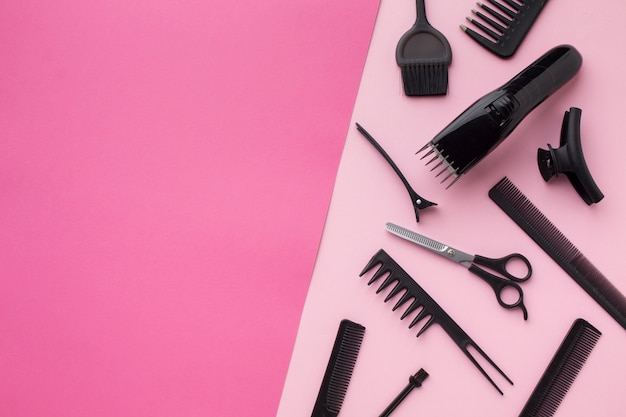 Aparador de cabelo e ferramentas cópia espaço