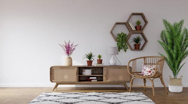 Aparador de madeira e poltrona de rattan no fundo da parede cinza com prateleiras hexagonais, renderização em 3d