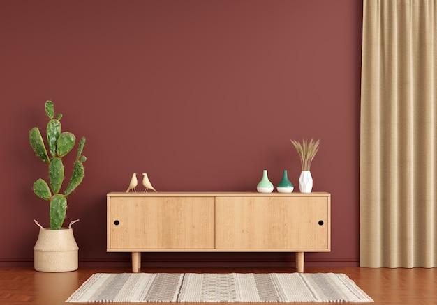 Aparador de madeira na sala de estar marrom com espaço de cópia