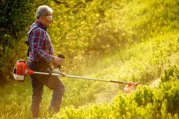 Aparador de sega - grama do corte do trabalhador na jarda verde no por do sol.