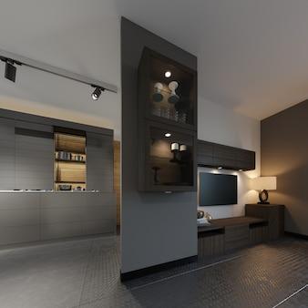 Aparador preto com decoração, em parede com portas de vidro com iluminação. suporte de tv com tv na sala de estar. renderização 3d