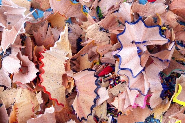 Aparas de lápis de cor, fundo de foto macro