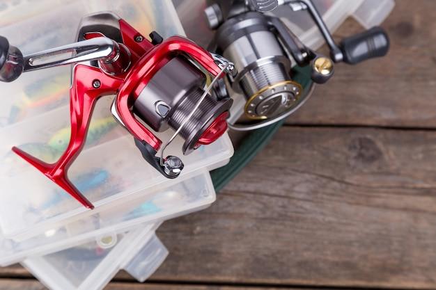 Aparelhos e iscas de pesca, iscas em caixas de armazenamento