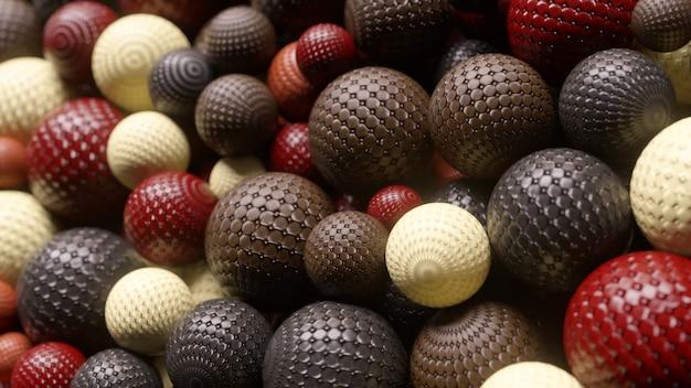 Aparência aleatória abstrata de esferas interagindo umas com as outras. conceito de movimento. ilustração 3d