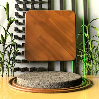 Aparência de madeira renderização em 3d estágio do produto plano de fundo