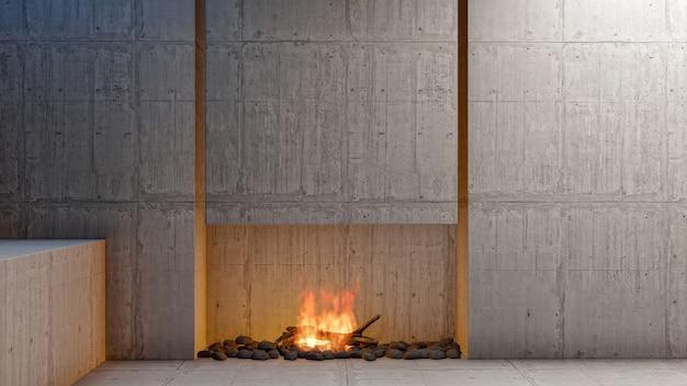 Apartamento com sala de estar em estilo loft vazio com lareira e parede de cimento em branco