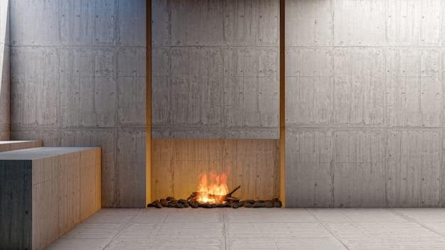Apartamento com sala de estar interior em estilo loft vazio com lareira e parede de cimento vazia em branco renderização em 3d