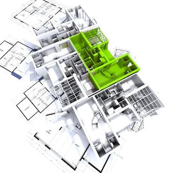 Apartamento destacado em verde em uma maquete de arquitetura branca no topo dos planos do arquiteto
