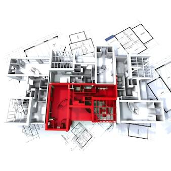 Apartamento destacado em vermelho em uma maquete de arquitetura branca no topo dos planos do arquiteto