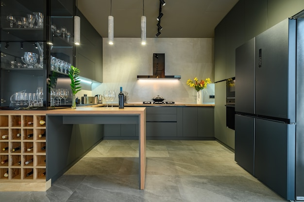 Apartamento estúdio moderno grande e luxuoso com cozinha