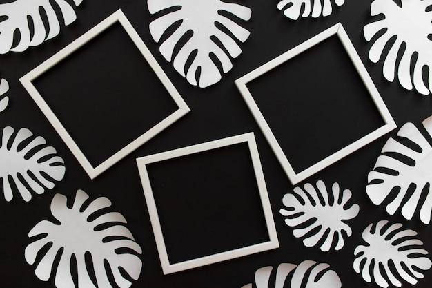 Apartamento leigos com folhas tropicais e quadros brancos com espaço em branco de cópia