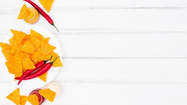 Apartamento leigos de nachos com copyspace
