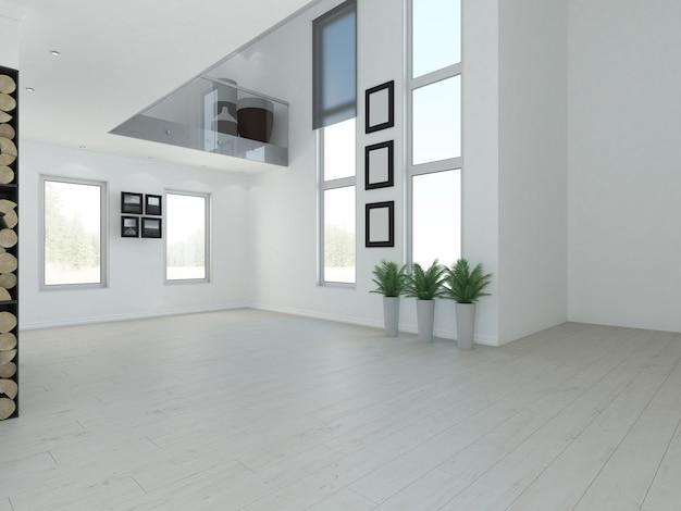 Apartamento loft vazio de luxo de dois andares com teto alto e lareira