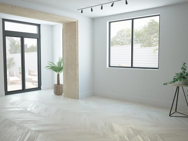 Apartamento moderno quase vazio com sala de estar