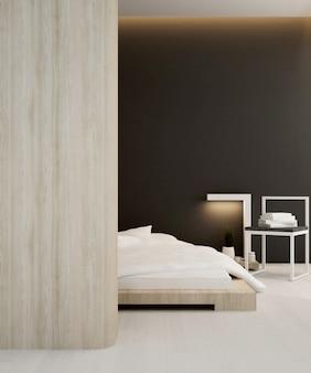 Apartamento ou hotel de quarto, interior, renderização em 3d