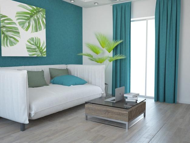 Apartamento pequeno com sala de estar moderna