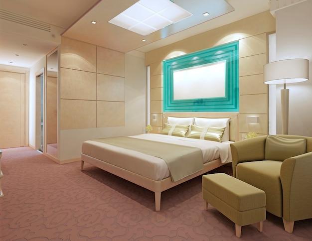 Apartamentos contemporâneos de hotel. cor pêssego no interior. móveis ikea. renderização 3d