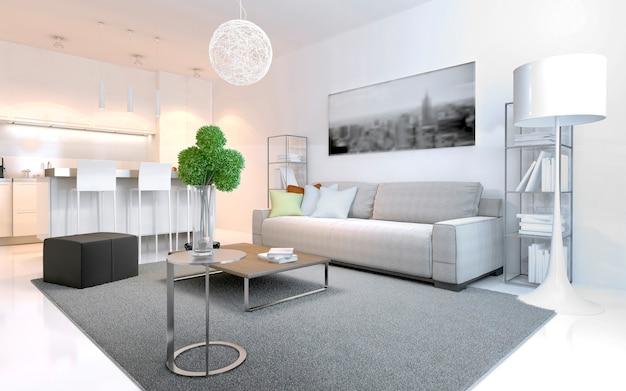 Apartamentos de estilo escandinavo. interior luminoso com cozinha elegante de cor branca. móveis ikea. renderização 3d