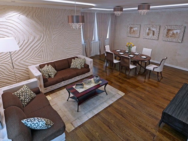 Apartamentos estúdio luxuosos com design moderno. lindos sofás de couro e mesa baixa de madeira de mogno. renderização 3d