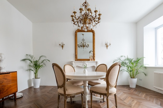 Apartamentos franceses. sala de estar com mesa de jantar.