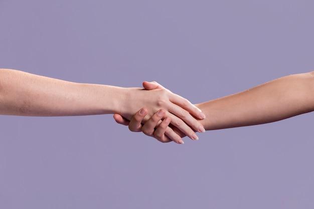 Aperto de mão das mulheres como um sinal de paz