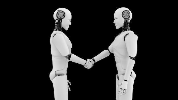 Aperto de mão de robôs futuristas Foto Premium