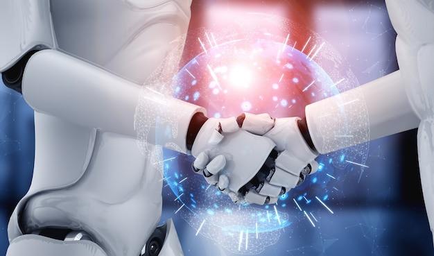 Aperto de mão do robô humanóide de renderização 3d para colaborar com a tecnologia do futuro