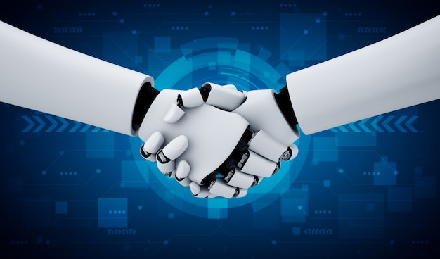 Aperto de mão do robô humanóide de renderização 3d para colaborar no desenvolvimento de tecnologia futura